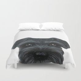 Black Schnauzer, Dog illustration original painting print Duvet Cover
