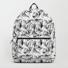 Smoking birds pattern in black and white Backpack