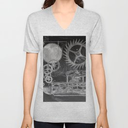 black and white vintage patent print chalkboard steampunk clock gear Unisex V-Neck