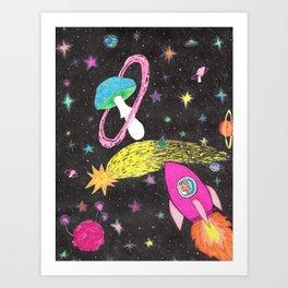 Catstronaut Adventures in Space Pt.2 Art Print