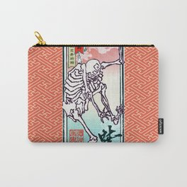 Kyosai's Dancing Skeleton with Auspicious Sayagata Carry-All Pouch