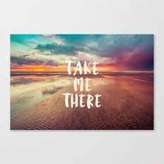 Ocean Sea Beach Water Clouds at Sunset - Take Me There Typography Canvas Print