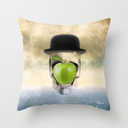 Magritte Skull Throw Pillow