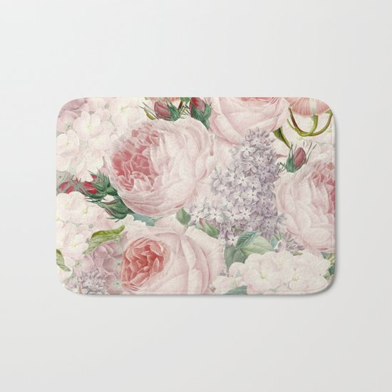 Vintage Roses and Lilacs Pattern - Smelling Dreams on #Society6 Bath Mat