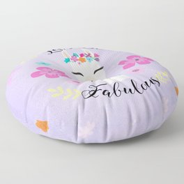 Let's Be Fabulous - Purple Cute Alpaca - Llama with Flowers Floor Pillow