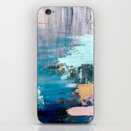 Waves: an abstract mixed media piece in black, white, blues, pinks, and brown iPhone Skin
