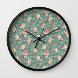Vintage Florals: Teal Wall Clock