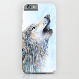 """""""Howling"""" Watercolor Wolf iPhone Case"""