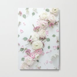 SPRING FLOWERS WHITE & PINK Metal Print