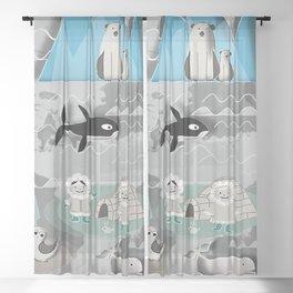 Arctic animals grey Sheer Curtain