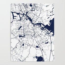 Amsterdam White on Navy Street Map Poster