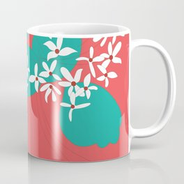 Minimalistic White Flowers On A Red Coffee Mug