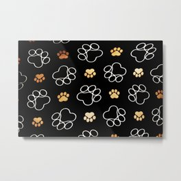 dog pawprint tracks background pet Metal Print