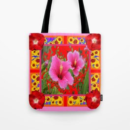 TROPICAL RED-PINK HIBISCUS FLOWERS PATTERNS Tote Bag