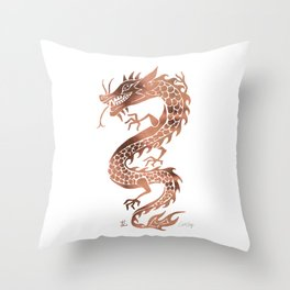 Chinese Dragon – Rose Gold Palette Throw Pillow