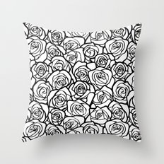 Vintage black and white roses Throw Pillow
