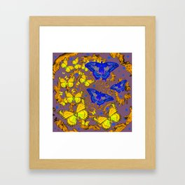 Decorative Blue & Yellow Butterfly Patterns Framed Art Print