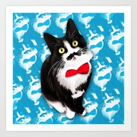 muppet Art Prints featuring Muppet the Moustached Cat by EggsBFF
