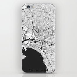 Melbourne City Map Gray iPhone Skin