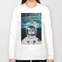 pilot Long Sleeve T-shirts featuring Miss Space Pilot by SEVENTRAPS