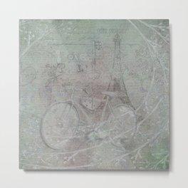 Vintage Parisian Bicycle Postcard Metal Print