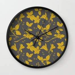 Drawings from Stonecrop Garden, Pattern in Gold & Grey Wall Clock