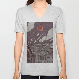 roofs of Paris in Christmas Unisex V-Neck