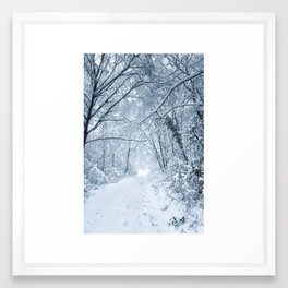 The snowy shape in the wood Framed Art Print