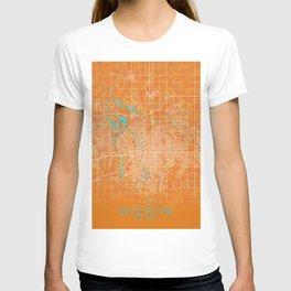 Wichita, KS, USA, Gold, Blue, City, Map T-shirt