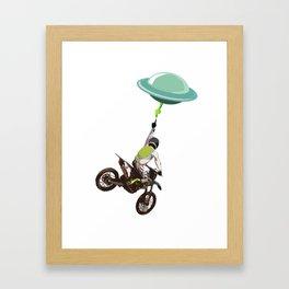 Motocross alien Framed Art Print