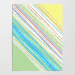 Diagnol Rainbow Stripe Poster
