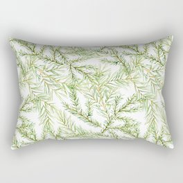 Pine and fir twigs. Watercolor green Rectangular Pillow