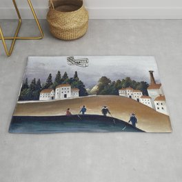 Fishermen and the biplane by Henri Rousseau Rug