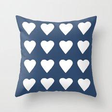16 Hearts White on Navy Throw Pillow