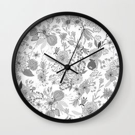 Abstract black white rustic modern floral illustration Wall Clock