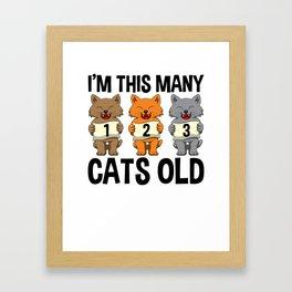 I'm This Many Cats Old 2 Yr Boy Girl Birthday Idea Framed Art Print