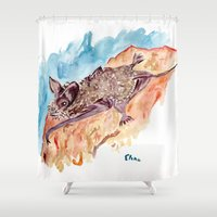 bat Shower Curtains featuring Bat by Elena Sandovici