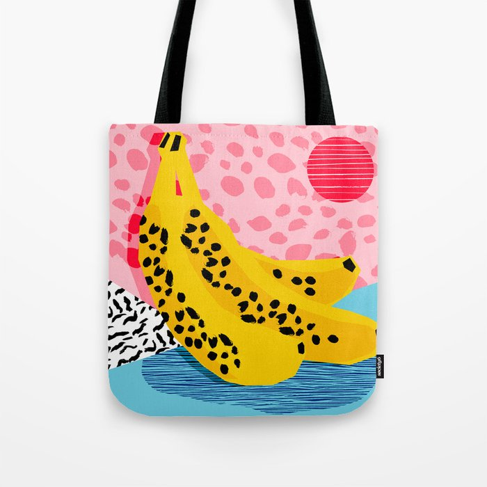What It Is - memphis throwback banana fruit retro minimal pattern neon bright 1980s 80s style art Tote Bag
