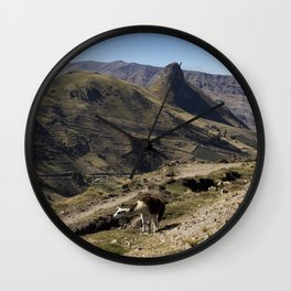 The Llama in the mountains Wall Clock