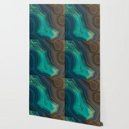 Lake Like Teal & Brown Agate Wallpaper