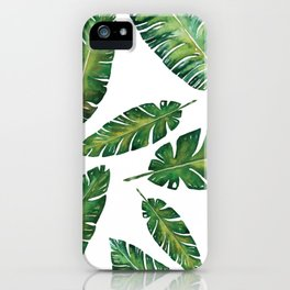 Decorative Watercolor Tropical Leaves Pattern iPhone Case