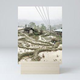 Beautiful foggy SaPa Vietnam rice fields cold winter Mini Art Print