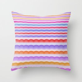 Warm Bright Bubbly Boho Color Study Stripes Print Throw Pillow