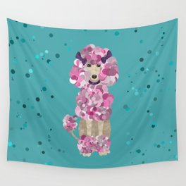 Fun Paint Splatter Poodle on Teal Wall Tapestry