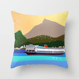 FERRY BOAT IN RIO Throw Pillow