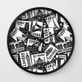 Retro Postcards // black and white Wall Clock
