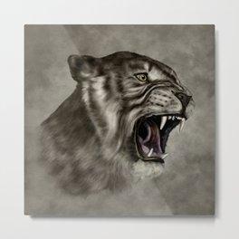 Roaring Liger - Digital Art Metal Print