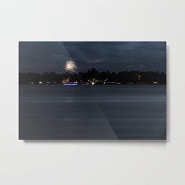 Fireworks Over Lake 13 Metal Print