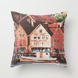Old warf of Bergen Norway Throw Pillow