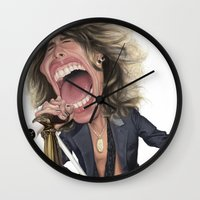 tyler durden Wall Clocks featuring Steven Tyler by Sant Toscanni